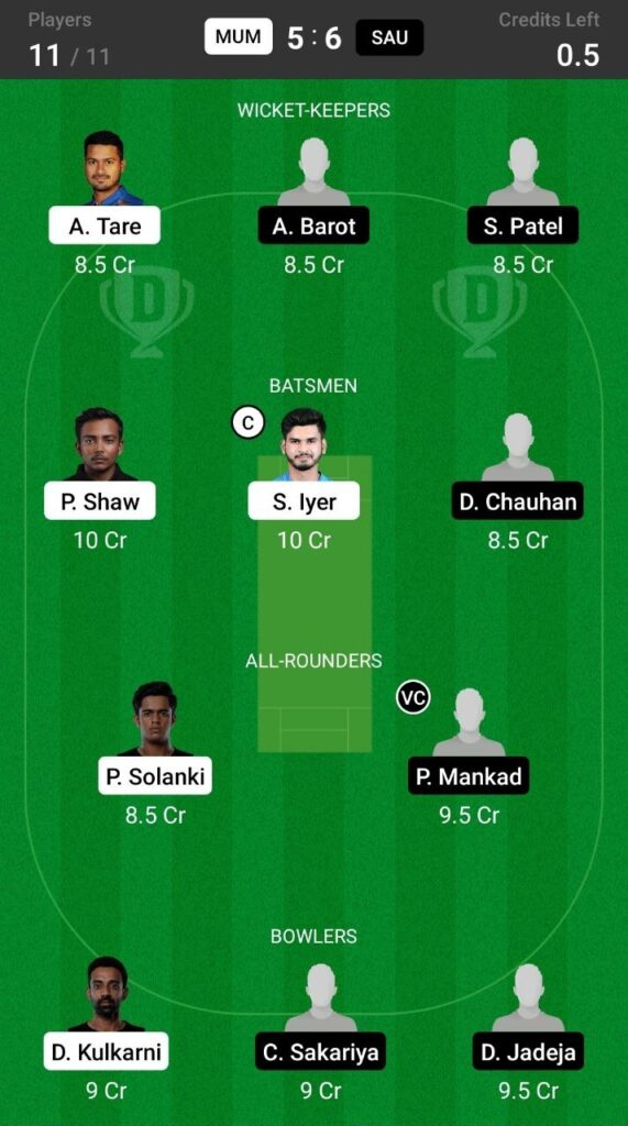Grand League Team For  Mumbai vs Saurashtra