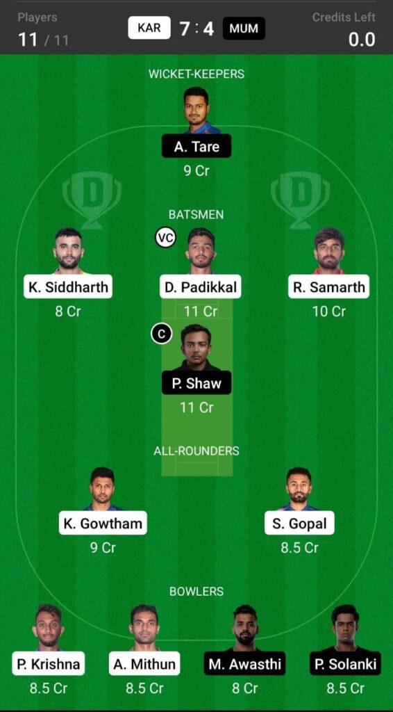 Grand League Team For Karnataka vs Mumbai