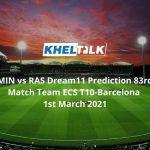 MIN vs RAS Dream11 Prediction 83rd Match Team ECS T10-Barcelona 1st March 2021
