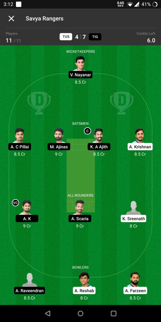 Grand League Team For Tuskers vs Tigers