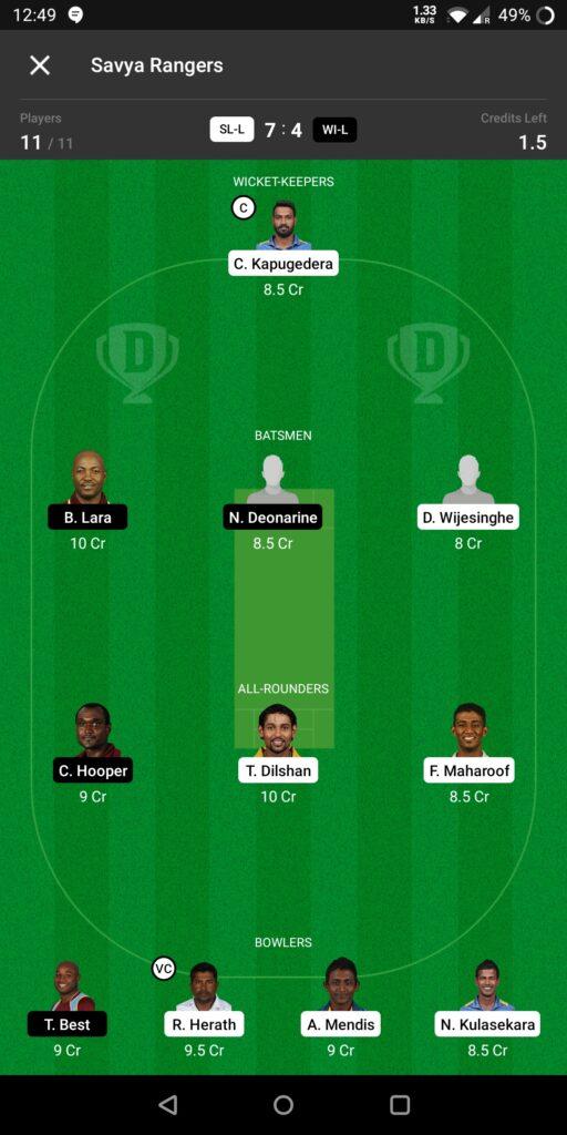 Grand League Team For Sri Lanka Legends vs West Indies Legends