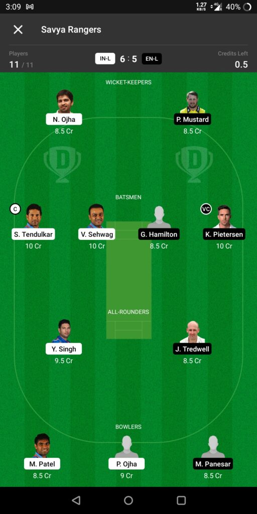 Head To Head Team For India Legends vs England Legends