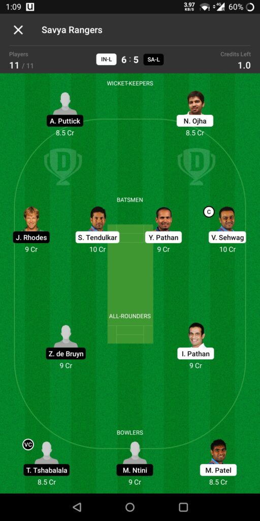 Head To Head Team For Indian Legends vs South Africa Legends