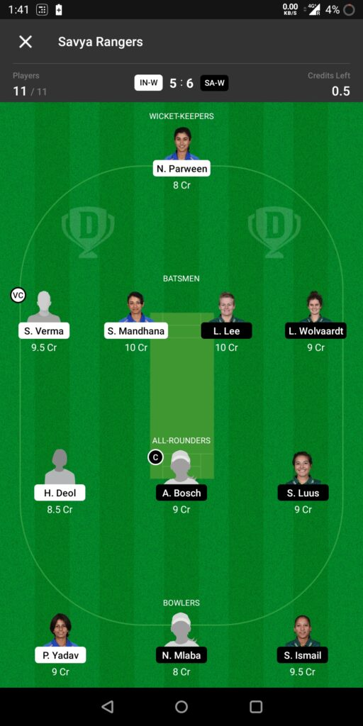 Head To Head Team For India Women vs South Africa Women