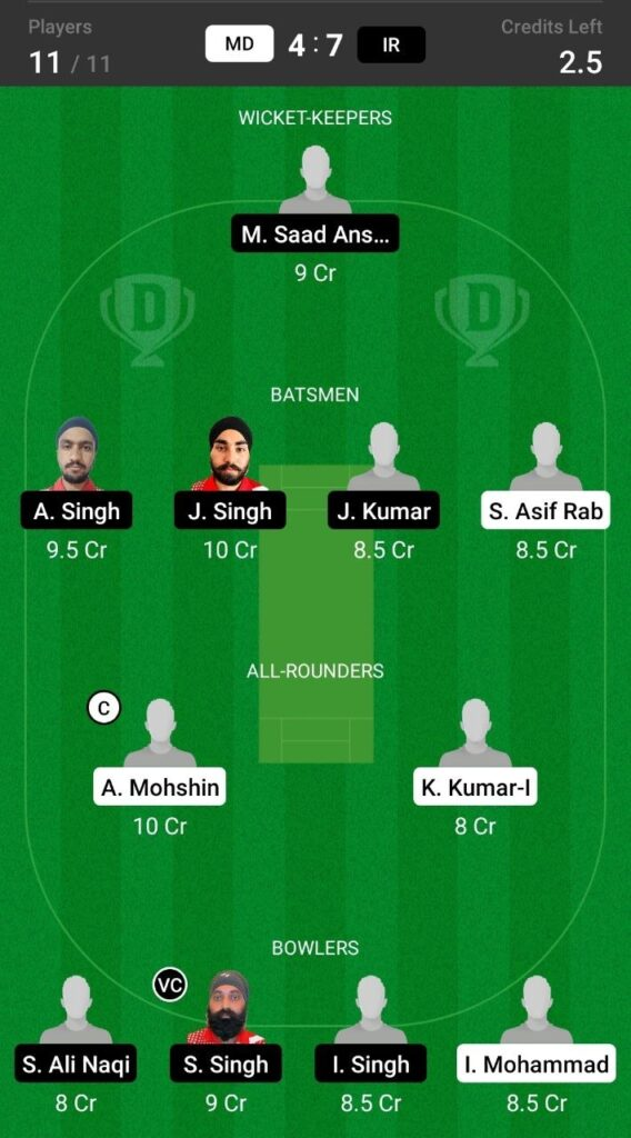 Grand League Dream11 Team Prediction MD vs IR