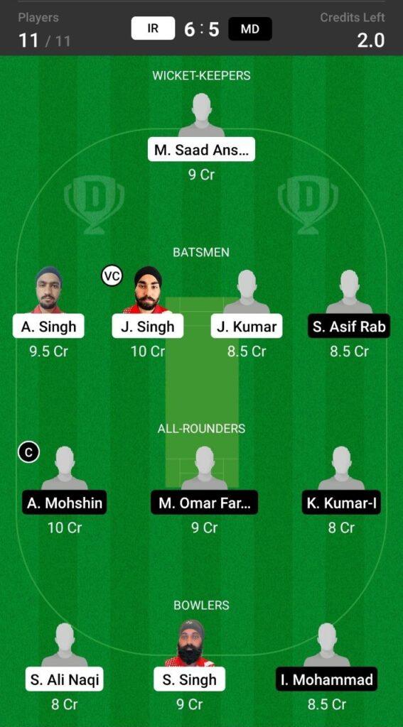 Grand League Dream11 Team Prediction IR vs MD