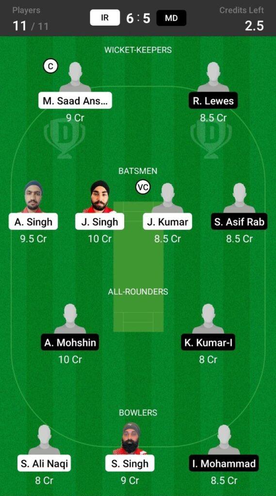 Head to Head Dream11 Team Prediction IR vs MD