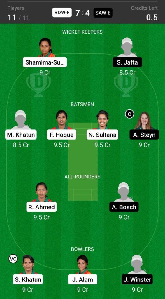 Grand League Team For Bangladesh vs South Africa
