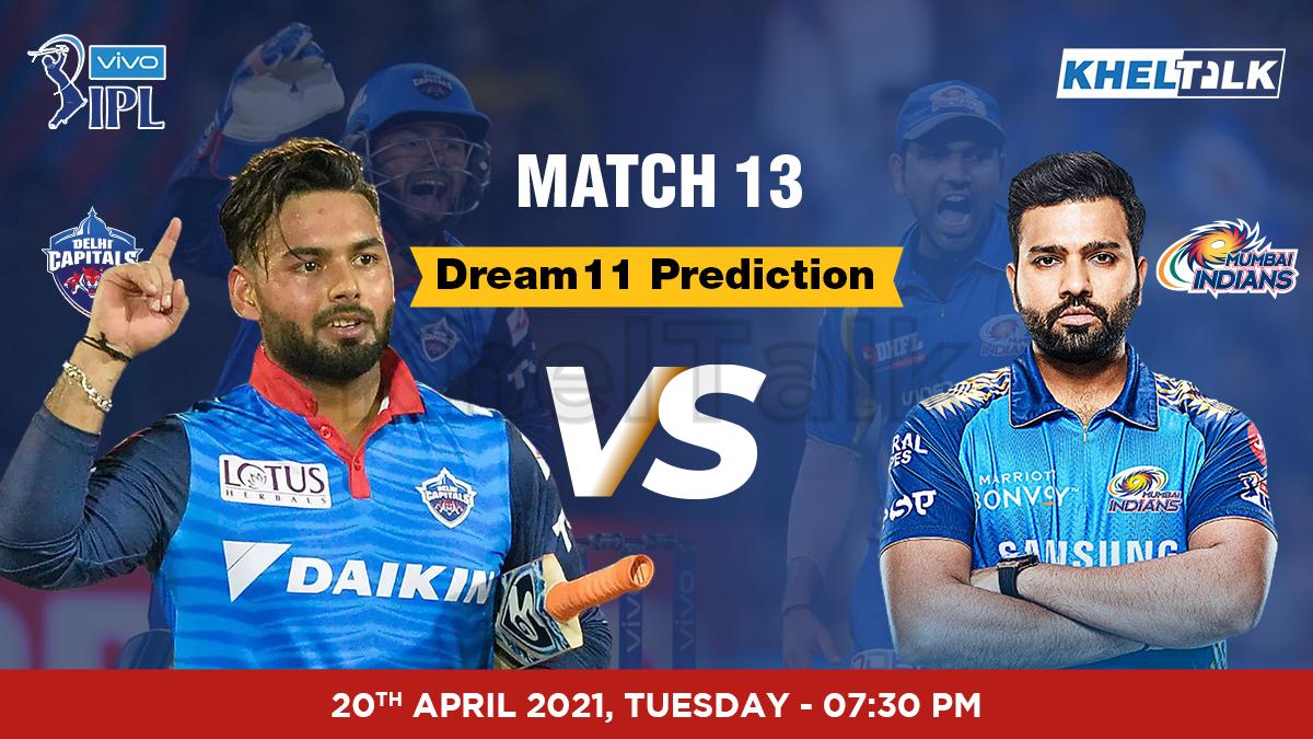 DC vs MI Dream11 Prediction Match 13 Team by Expert IPL 20th April | Kheltalk Fantasy cricket