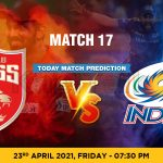 PBKS vs MI Today Match Prediction Cricket Betting Tips Match 17 IPL 2021 23rd April