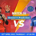 RCB vs RR Dream11 Prediction Match 16 Team by Expert IPL 22 April | Kheltalk Fantasy cricket
