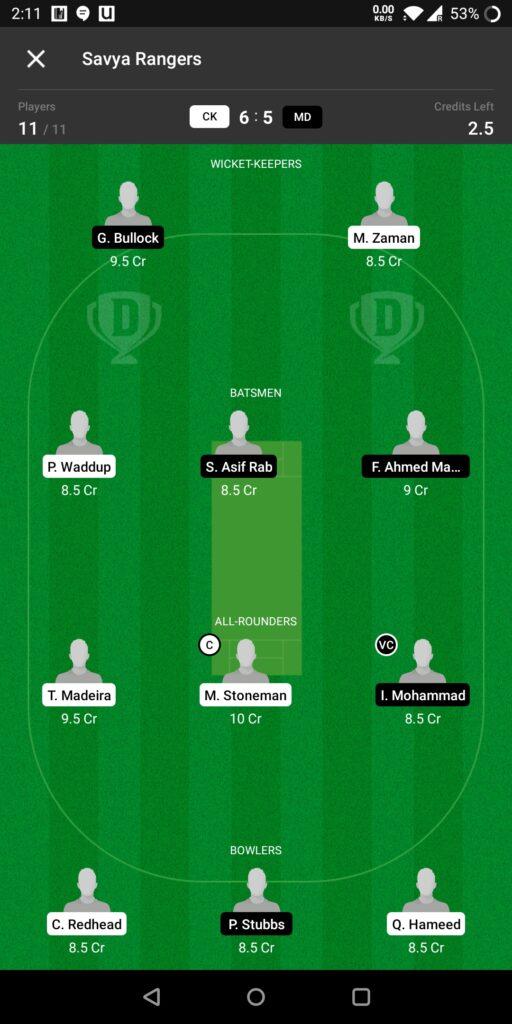 Head to Head Dream11 Team Prediction CK vs MD